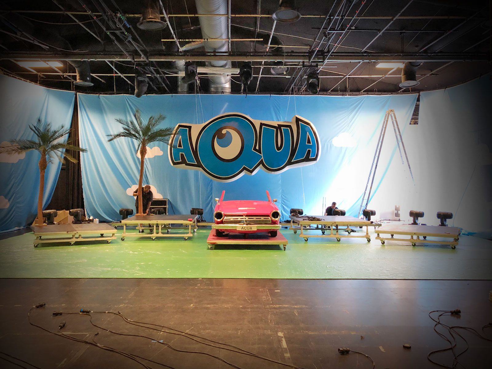 AQUA's logo used as a giant inflatable stage prop