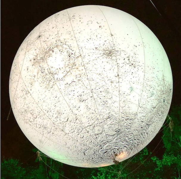 Helium airballoon printed with the surface of the moon