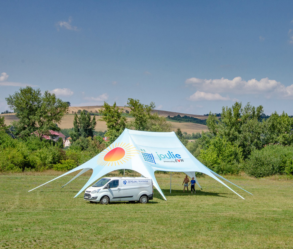 Star tent with logo print and two center poles