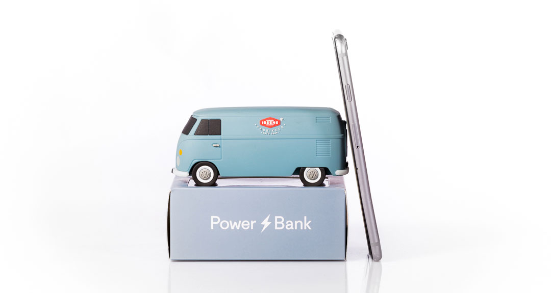 Ibsens Fabrikker's well-known Volkswagon bus as a power bank